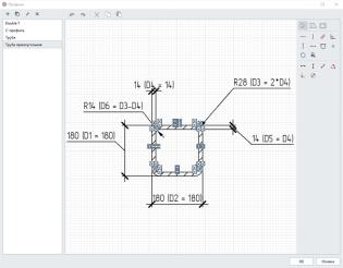 Рис. 1.2 Сечение квадратной трубы, созданное в Редакторе профилей, и его применение для нового стиля колонны