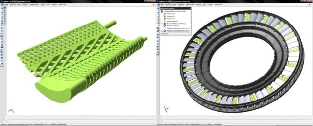"""Победитель в категории проектов до 200 деталей (VI Конкурс Асов компьютерного 3D-моделирования) — проект """"Блок охлаждаемых лопаток соплового аппарата турбины высокого давления газотурбинного двигателя"""""""
