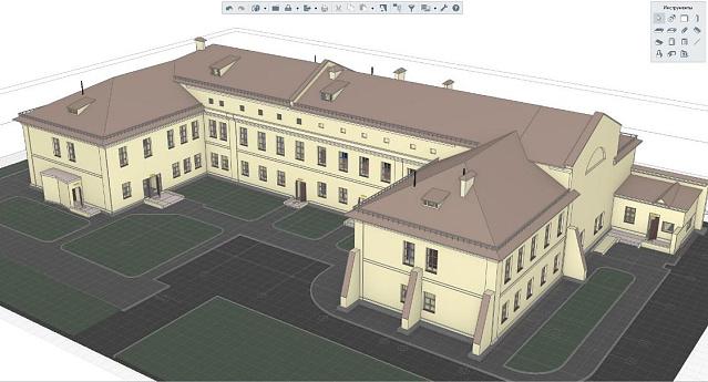Рис.1 ЗD-модель здания управления военного госпиталя