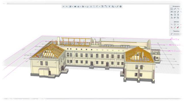 Рис. 2 Стропильные системы в 3D-модели