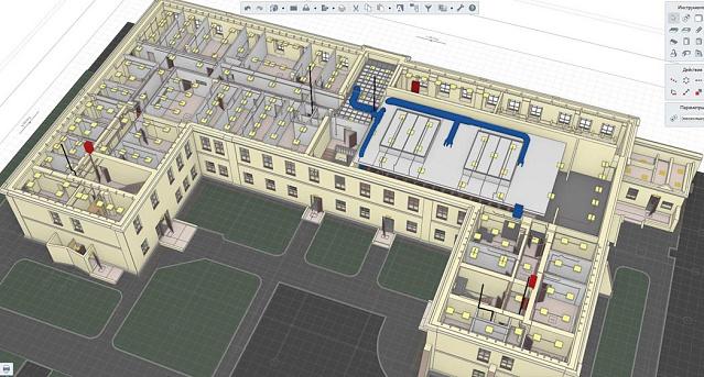 Рис. 3 Внутренние инженерные системы в 3D-модели
