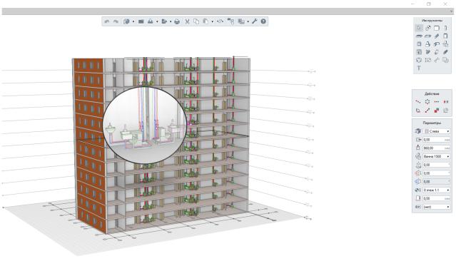 Рисунок 1. Информационная модель с инженерными системами в Renga MEP