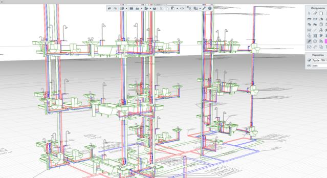 Рисунок 2.Проложенная трасса инженерных систем в Renga MEP
